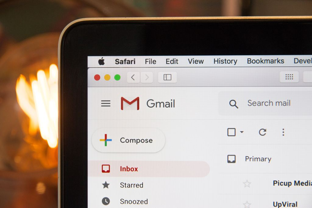 An open computer showing Gmail